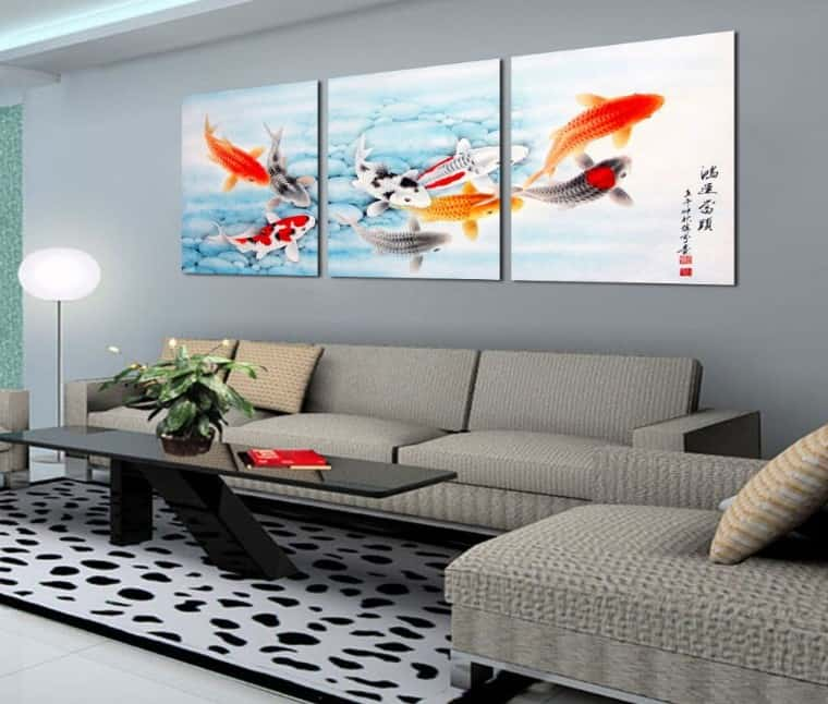 feng shui painting for living room 9 lucky koi fish