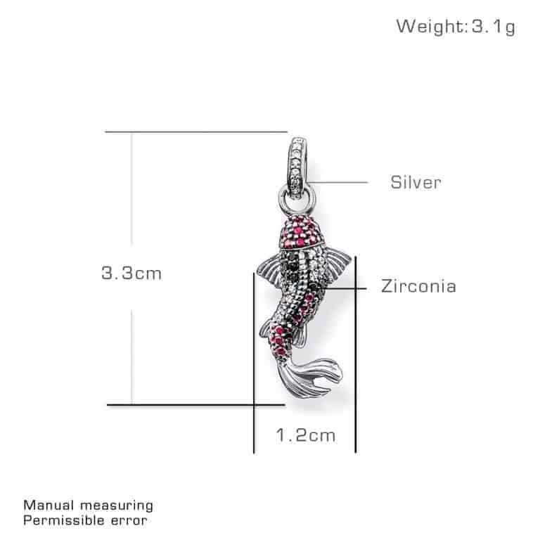 koi fish pendant 925 Sterling Silver Zirconia Asian Carp Koi Fish Glam Pendants Fit Chains Necklaces