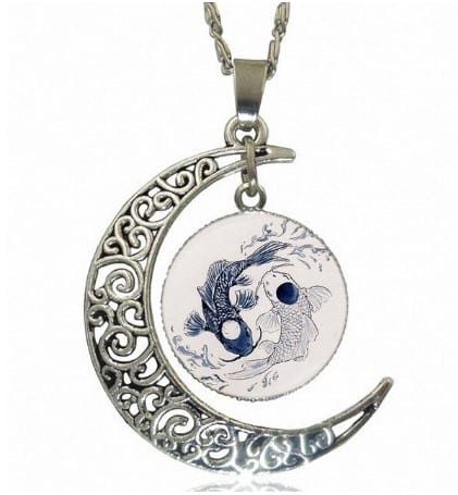 yin yang necklace koi fish tattoo style