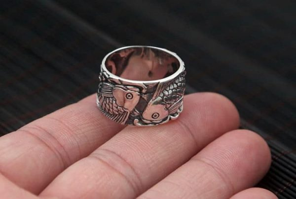 sterling silver rings Double Silver Koi Fish