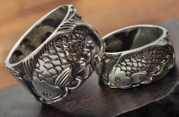 sterling silver rings Double Silver Koi Fish engraved fish ring for men and women sterling silver couple ring 1