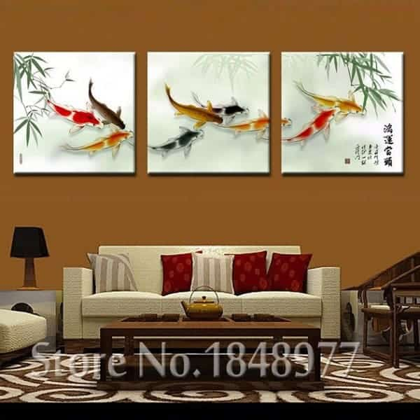 chinese calligraphy painting koi fish painting bamboo background