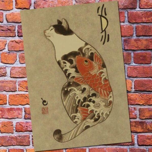 samuria cat with koi fish tattoo