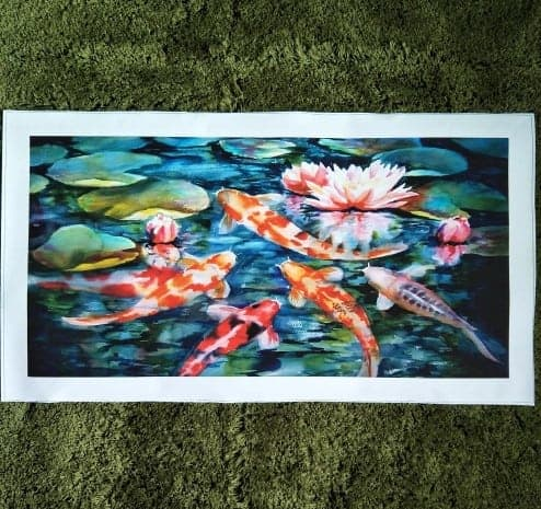 japanese koi fish painting with lotus flower background 1