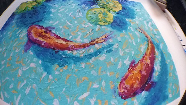 two chagoi koi fish abstract painting