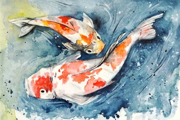 koi fish craft water color painting