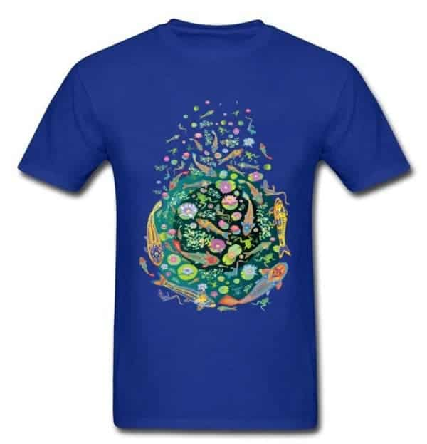 Koi fish shirt doodle art design blue color for sale