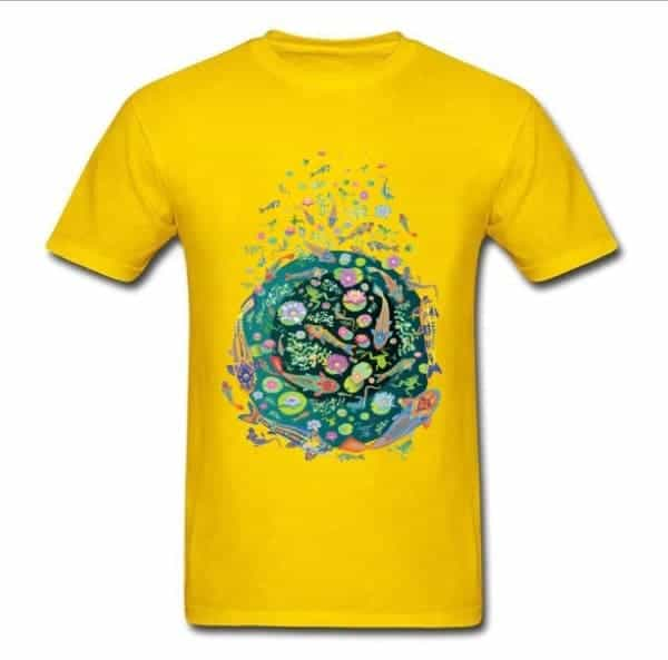 Koi fish shirt doodle art design yellow for sale