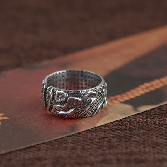 koi fish lotus flower couple ring