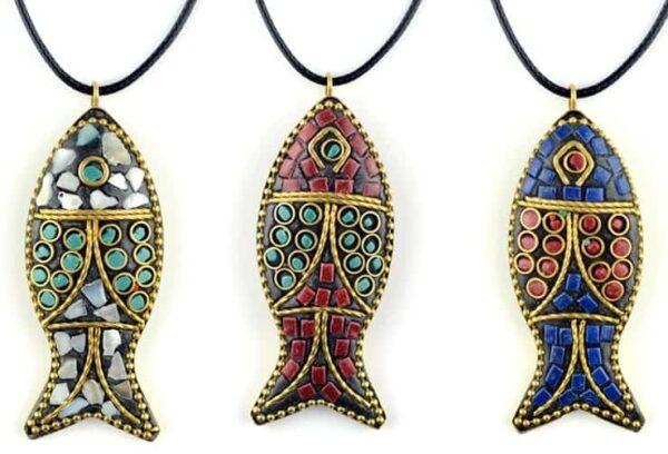 Vintage Color mosaic Fish Pendant
