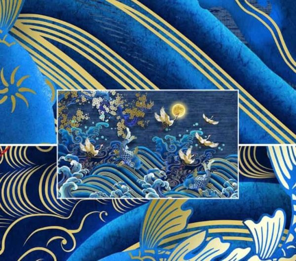 asian crane koi painting 1