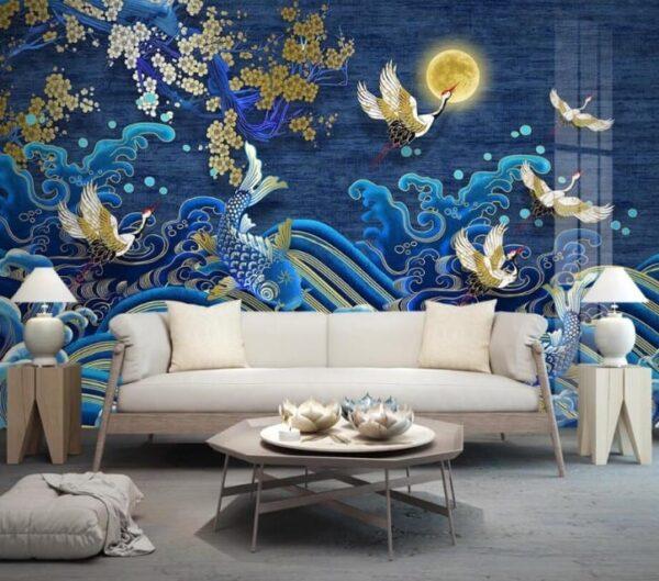 asian crane koi painting 2