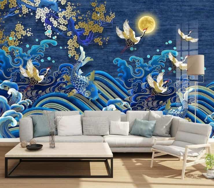 koi blue painting