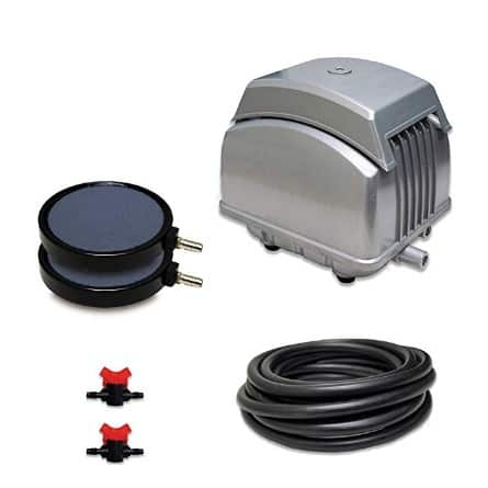 """HALF OFF PONDS Patriot Pond Subsurface Aeration System with 2.1 Cubic Feet per Minute Air Pump, 25' Weighted Tubing, (2) 8"""" Diffusers, (2) Ball Valve Manifolds and T - PAK-45K"""
